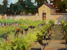 The Hedges Vinyard plein air, landscape painting by Robin Weiss Original art painting by Robin Weiss - DailyPainters.com