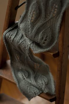 Free knitting pattern for Daphne Scarf - Lace laurel leaves wind through this scarf by Saranac Hale Spencer, designed for worsted weight yarn.