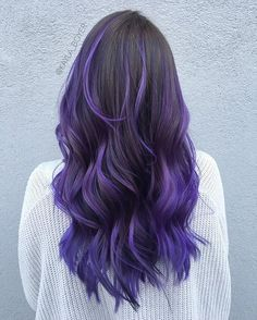 Dark brown/black to purple ombre