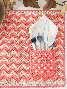 """With its eye-catching interplay of patterns, a set of these place mats will add a fun pop of color and texture to your fall table! Includes written instructions only. This e-pattern was originally published in the October 2016 issue of Crochet World magazine. Size: 20"""" x 15"""". Made with medium (worsted) weight yarn and size J/10/6mm hook. Skill Level: Easy"""