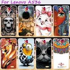 Hard Plastic&Soft TPU Silicones Phone Cover For Lenovo A536 A358T A 536 Cases Cool Skull Loving Minions Flower Accessories Hood