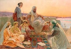 Otto Pilny - Sheik and a lady of his harem listening to the storyteller