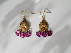Pink or Blue Antiqued Gold Chandelier Czech Glass Rose Petal Dangle Earrings by RicePaperJewels on Etsy