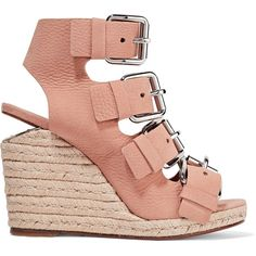 Alexander Wang - Jo Nubuck Wedge Sandals (11,640 DOP) ❤ liked on Polyvore featuring shoes, sandals, blush, strappy shoes, alexander wang shoes, strap sandals, sport shoes and wedge heel shoes