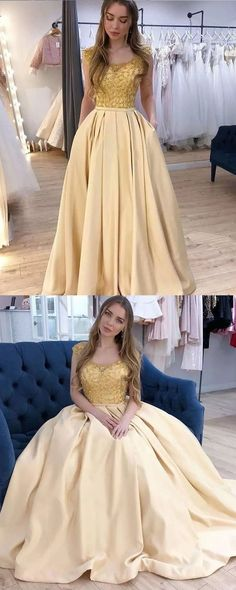 Scoop Neck Beading Bodice Yellow Prom Dress with Pockets vp4686 by VestidosProm, $147.54 USD