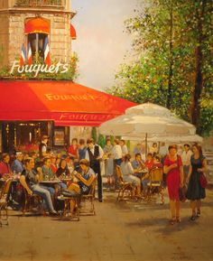 """Cafe de Fouquet: Milan Miletic 18""""X15"""" Oil on canvas. Miletic obtained his Masters degree in art from the Academy of Fine Arts in Belgrade, studying under Stojan Celic. His city streets often appear to be wet, as if just after a rain…and there is warm glowing light emanating from within the cozy cafes and shops. Miletic has exhibited throughout Europe and North America, including shows in Belgrade, Warsaw, Helsinki, Tel Aviv and Toronto."""