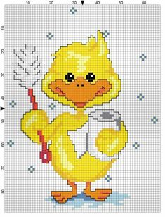 And med tandpasta og tandbørste Cross Stitch Boards, Simple Cross Stitch, Cross Stitch Baby, Cross Stitch Animals, Counted Cross Stitch Patterns, Cross Stitch Designs, Cross Stitch Embroidery, Kids Patterns, Sewing Patterns