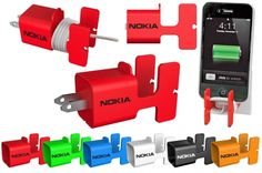 • Organize charger wire  • Holds phone during charging  • Colors: Black, Blue, Green, Orange, Red, White