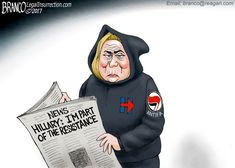 Hillary Clinton say's she's now a part of the resistance in America against President Trump. Political Cartoon by A.F. Branco ©2017.