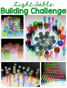 Light Table Building Challenge by Play to Learn Preschool - exploring colors and transparency on the light table along with working on fine motor skills Sensory Activities, Sensory Play, Sensory Bins, Sensory Lights, Overhead Projector, Light Board, Light Panel, Sensory Table, Play To Learn