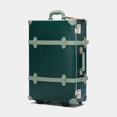 The Artiste Stowaway in Green - Old Fashioned Suitcase - Exterior Front Travel Bag Essentials, Vintage Luggage, Wash Bags, Travel Luggage, Green Leather, Luxury Travel, Evergreen, Trip Planning, Traveling By Yourself