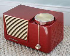 RCA Red Mid Century Bakelite Tube Radio