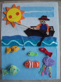 Gone Fishing Page.  Magnetic pole to catch fish.  Fish have paper clip ends for the magnet.