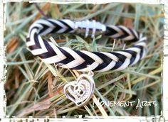 Zweifarbiges Armband mit Herzanhänger aus Silber