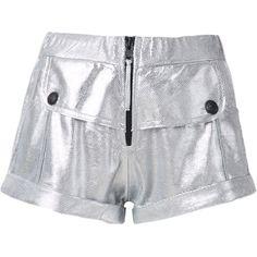 Andrea Bogosian leather shorts ($806) ❤ liked on Polyvore featuring shorts, pocket shorts, elastic waist shorts, stretch waist shorts, mid rise shorts and elastic waistband shorts