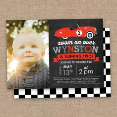 Vintage Car 2nd Birthday Invitation Photo Red by JessicasInvites