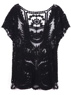 hollow crochet lace top