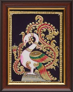 Tanjore Paintings is a classical south Indian art developed in the late century in Thanjavur also known as Tanjore In Tamilnadu south Indian state. Mysore Painting, Peacock Painting, Tanjore Painting, Krishna Painting, Madhubani Painting, Fabric Painting, Rajasthani Art, Small Canvas Art, Madhubani Art