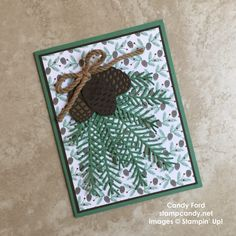 Click through to stampcandy.net for details! Stampin' Up, Christmas Pines stamp set, Pretty Pines thinlits dies, Presents & Pinecones DSP, Kraft Rope Trim, Emerald Envy, Early Espresso, Soft Suede, handmade card, Christmas card, DIY, crafts, papercrafts, card making