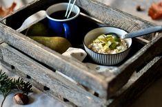 Kjøleskapsgrøt med pære og cottage cheese Cottage Cheese