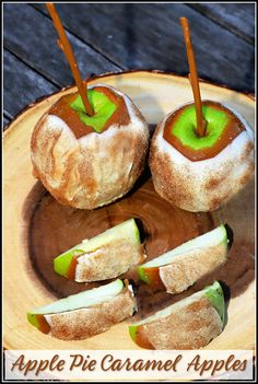 These Apple Pie Caramel Apples take traditional dipped apples to a whole other level! I start with fresh picked, tart green apples and dip them in sweet caramel then in white chocolate. They are topped off with a layer of cinnamon sugar and chilled until ready to enjoy with family and friends!
