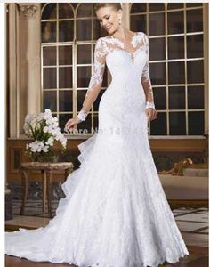 Vestido de novia: Hermoso manga larga encaje por DIYERS en Etsy
