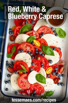 Looking for a beautiful #July4th side dish for your holiday cookout? This festive Red, White, & Blueberry Caprese Salad is the perfect way to celebrate! Build your salad with a refreshing mix of tomatoes, mozzarella, basil, blueberries, s+p, and a drizzle of our Balsamic! Get the full recipe now! #Tessemaes #SideDish Spinach Strawberry Salad, Spinach Salad, Caprese Salad, Basil Pesto Pasta, Tomato Mozzarella, Spicy Tuna Sushi, Grilled Chicken Thighs, Creamy Cucumbers, Grilled Zucchini