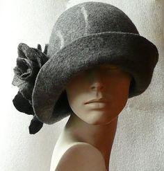 Women felted hat Cloche hat felt hat felted hat 1920s by Feltpoint