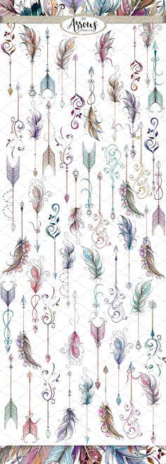 Acuarela y tinta Boho Arrows ClipArt por Empire 7 Creatives en Creative Market . - Acuarela y tinta Boho Arrows ClipArt por Empire 7 Creatives en Creative Market La mejo - Feather Tattoos, Body Art Tattoos, New Tattoos, Tatoos, Ankle Tattoos, Word Tattoos, Arrow With Feather Tattoo, Diy Tattoo, Trendy Tattoos