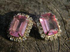Vintage Pink Rhinestone Earrings by Gener8tionsCre8tions on Etsy, $50.00