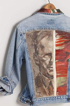 Kunstenaar Jacket, Crimson Portrait - anthropologie.com: An unexpected way to showcase fine art, this one-of-a-kind vintage Levi's jacket displays once-forgotten oil paintings across its back panel, elevating this denim layer from completely ordinary to utterly distinctive. An Anthropologie exclusive, handcrafted by Leslie Oschmann for Swarm.