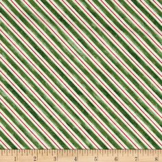 """Home For The Holidays Stripe Green from @fabricdotcom  Designed by Paul Brent for Red Rooster Farics, This cotton panel is perfect for  Christmas quilting and craft projects as well as apparel and home décor accents. Panel measures 24""""x 44. Colors Include: Red, Green and ivory."""
