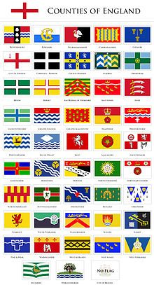 "Flags of the Counties of England. East Sussex is the number 14. ""Red as true blood, gold as a good heart."""