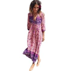 f8b6e3b7e8 Boho Dress Chic Floral Print Cotton Maxi Dress V-neck Long Sleeve with  Tassel All Season Bohemian Femme Dress