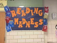 a day in the life of miss kranz: madness & greatness.in one post. Sports Theme Classroom, School Classroom, Classroom Ideas, Classroom Door, Library Themes, Library Displays, Library Decorations, Library Ideas, Kansas