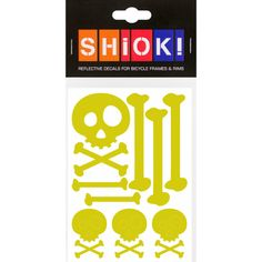 #shiok! #becomevisible! #retro-reflective #cycling #outdoor #sticker #bike I 9.95 EUR (incl. VAT) Skull And Bones, Cycling, Bike, Stickers, Retro, Frame, Outdoor, Bicycle, Picture Frame