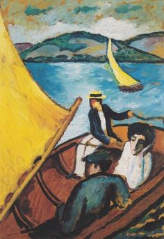 """artist-macke: """"Sailing boat on the Tegernsee, August Macke Medium: oil,wood"""" August Macke, Famous German Artists, Wall Art Prints, Canvas Prints, Expressionist Artists, Cross Stitch Pictures, Oil Painting Reproductions, Sculpture, Germany"""