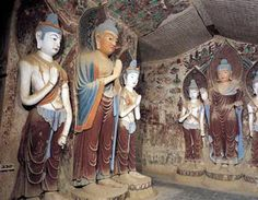Mogao Grottos on the Silk Road.  Carved in the rock in Dunhuang, Mogao, China