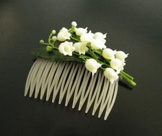 Lily of the Valley hair comb on Etsy, $15.00