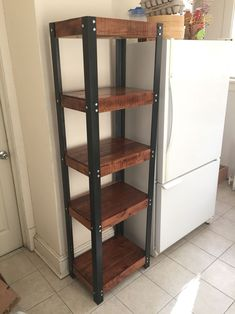 Pantry Shelves Built Out Of Reclaimed Pallet Wood 2 Steel Angles Hold The Custom Stain Clear Gloss Finish Palletfurniture