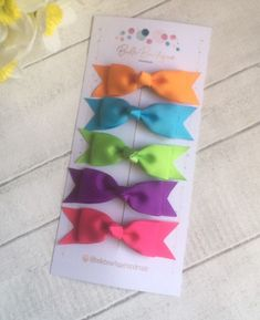 Excited to share this item from my shop: Knot clip rainbow barette bow hair clip pink purple orange pack of 5 gorgeous clips Bow Hair Clips, Hair Bows, Little Princess, Pink Hair, Rainbow Colors, Grosgrain, Pink Purple, Headbands, Knots