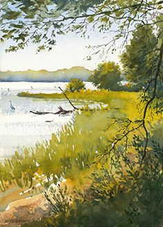 """Morning Shore by Richard Sneary Watercolor ~ 14"""" x 10"""""""