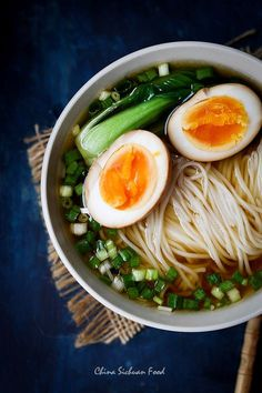 Yang Chun Noodle Soup with Soy Sauce Eggs is a humble and yummy soup noodle seasoned with soy sauce, green onion, chicken broth and sesame oil.