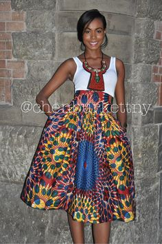 African Print Midi Skirt The Madison Midi par CHENBURKETTNY sur Etsy, $109.00