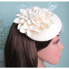 Cream Felt Hat Dahlia Flower, Cream Fascinator, Cream Cocktail Hat,... ($58) ❤ liked on Polyvore featuring accessories, hats, fascinator, formal hats, bridal hats, hair fascinators, bridal fascinator hats and flower fascinator