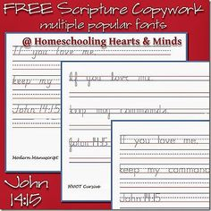 FREE Scripture Copywork from Homeschooling Hearts and Minds