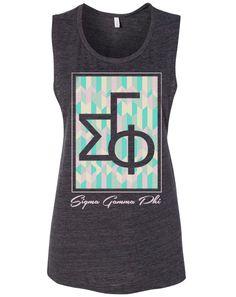 Sigma Gamma Phi Summer Pattern Letters Tank by Adam Block Design   Custom Greek Apparel & Sorority Clothes   www.adamblockdesign.com