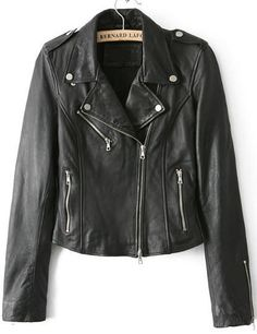 Lapel Epaulet Crop PU Black Jacket