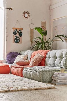 """Get Anthropologie's floor cushion look without the high price tag! Urban Outfitters has awesome and super cute floor """"beds"""" for much less. Smart shopping - get the full list of Anthro-inspired items for sprucing up your home this spring on the blog! Interior Design, Home Decorating and Dog Musings from Jersey City   Get Anthropologie's Spring Look Without Depleting Your Saving's Account"""