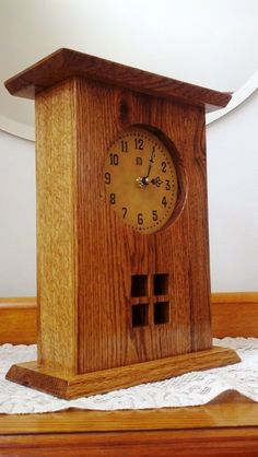 another clock for the Bride and Groom. It has a clock face and is finished with Dark Walnut oil and 2 coats of clear Shellac along with a coat of wax. Craftsman Clocks, Craftsman Furniture, Craftsman Style, Arts And Crafts Furniture, Furniture Projects, Wood Projects, Woodworking Projects, Mantel Clocks, Wood Clocks